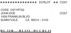 PaperKarma ECRLOT postal code