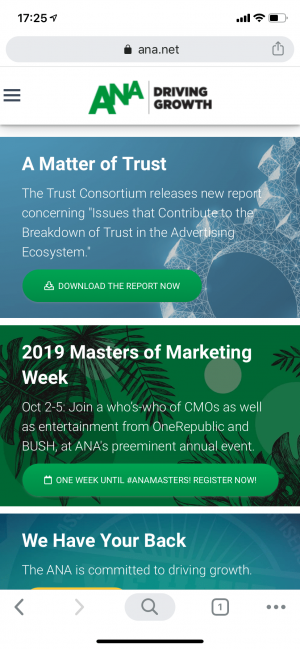 ANA - Association of National Advertisers - mobile website in 2020